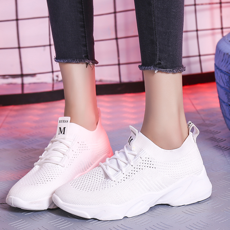 Nice Pop Summer White Black Pink Shoes Woman Flat Heels Women Leisure Sport Sneakers Young Girls Comfortable Running Tenis Flats
