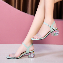 Summer 2020 new thick-heeled fashion sandals female fashion wild rhinestone sandals with open-toe high-heeled sandals Z931 clear panel two part heeled sandals