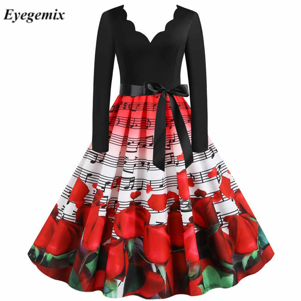 Elegante Vintage Jurk Vrouwen Lange Mouwen Winter Jurken Sexy V-hals Rockabilly Pin Up Valentijnsdag Party Vestidos Plus Size 3XL