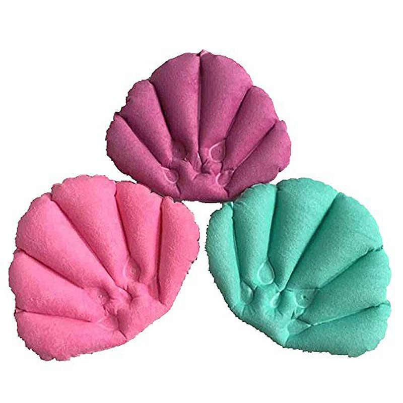 Almofada traseira macia inflável do pescoço do descanso dos termas do descanso do banho com ventosas para a cor aleatória do banheiro da banheira