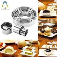 12 adet Yuvarlak Şekil Kesme Çerez Kalıpları Paslanmaz Çelik Mousse kek halkası Pişirme Bisküvi Çörek Kesici Kek Dekorasyon Araçları ZXH