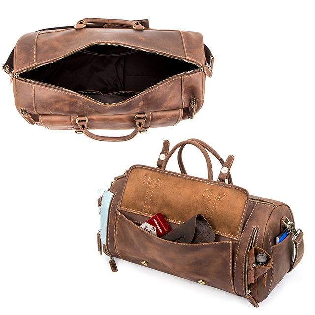 CONTACT'S Travel Men Handbags Crazy Horse Leather Duffle Luggage Bag Large Capacity Vintage Suitcase Tote Bag Male Shouder Bags 4