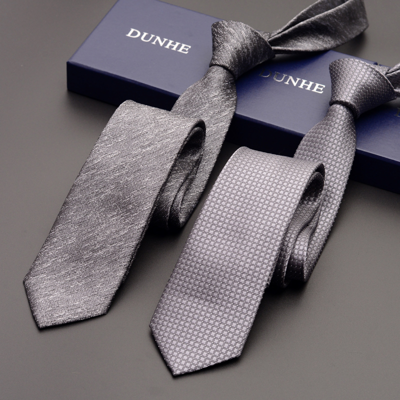 High Quality 2019 Fashion New Silk Wedding Ties For Men Tie Slim 6cm Necktie Designers Brand Gray Sliver Neck Tie With Gift Box