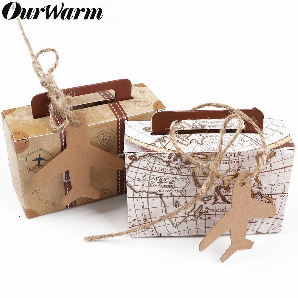 OurWarm 10pcs Kraft Paper Candy Gift Box Mini Suitcase Gifts Bags Party Favors For Guests Wedding Baby Shower Birthday Decoratio