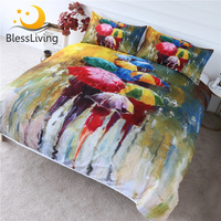BlessLiving Colored Umbrella Bedding Set Rainy Day Duvet Cover Set 3 Piece Oil Painting Printed Bed Cover Art Bedspreads Queen