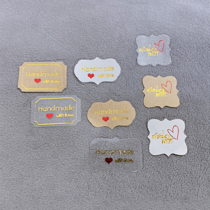120pcs/pack Handmade With Love Scrapbook Stickers Planner Album Adhesive Packaging Tricolor Polygonal Sealing Label