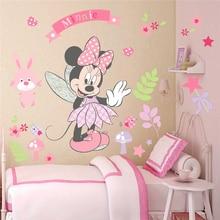 Pegatinas de pared de Minnie Mouse de Disney para niños, habitaciones de bebés, decoración del hogar, calcomanías de pared de vinilo de dibujos animados, arte Mural Diy
