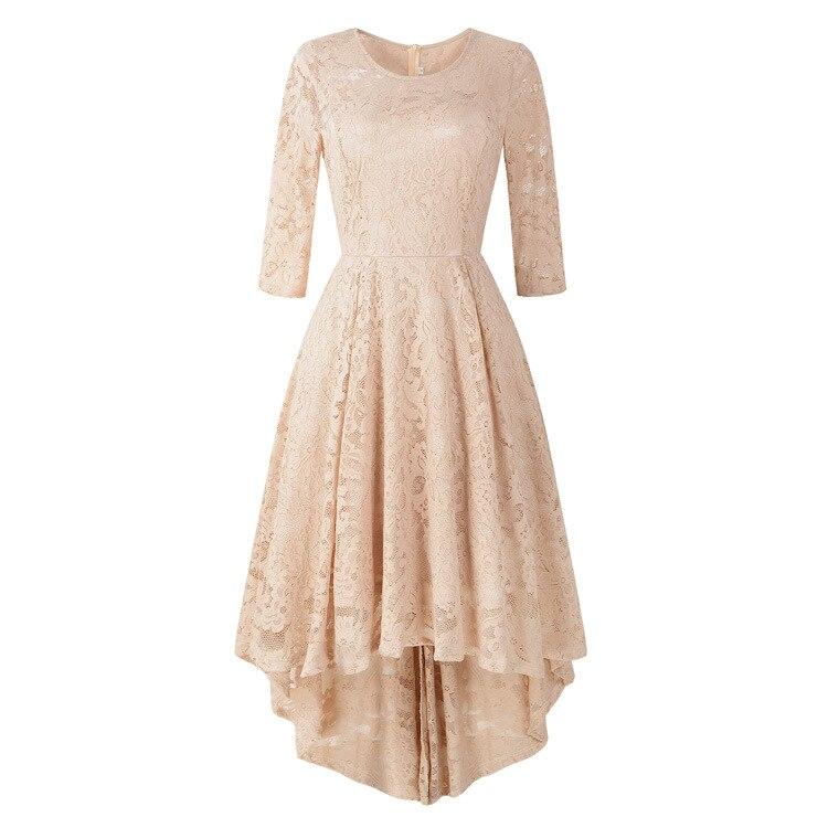 Europe And America WOMEN'S Dress 2018 Autumn New Crew Neck Three-quarter-length Sleeve Cocktail Bunk Bed Pendulum Lace Dress