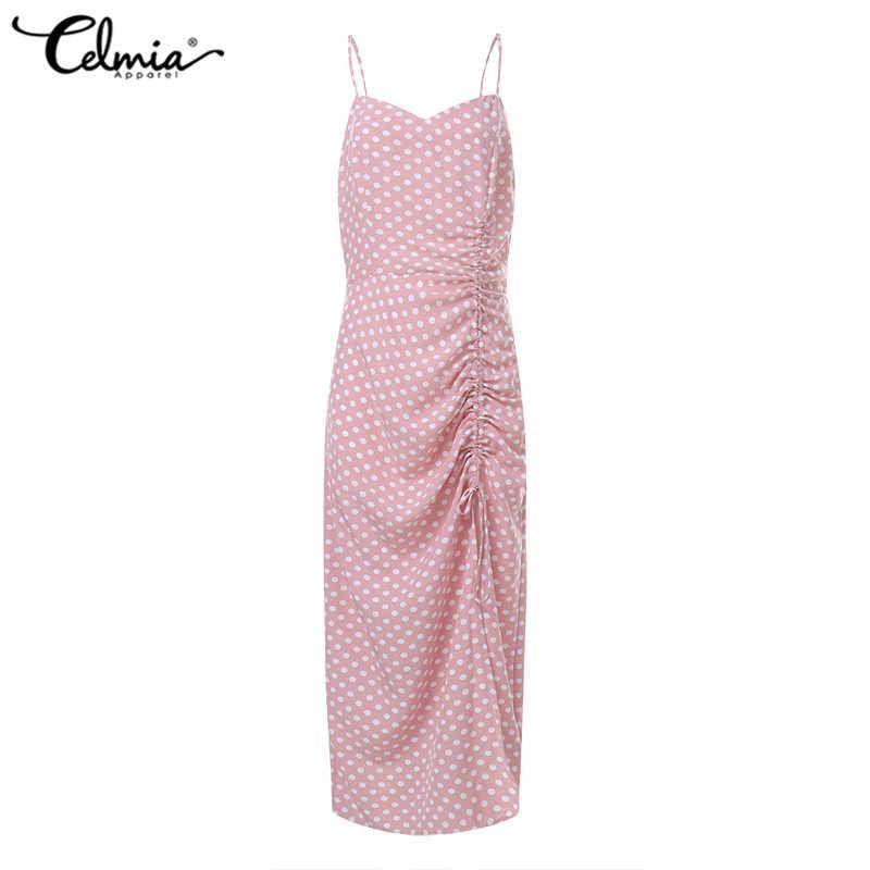 Artı boyutu yaz Sundress 2020 Celmia kadınlar seksi sapanlar Bodycon elbise kolsuz İpli Polka Dot plaj Vestidos bölünmüş Robe