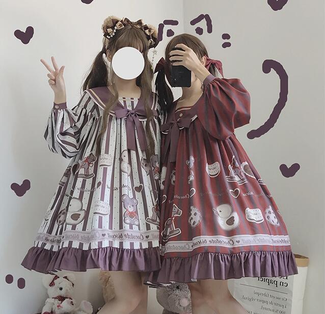 Купить милое платье в стиле «лолита» ретро с матросским воротником