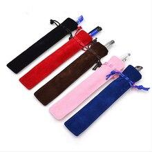 5 Pcs /lot  Velvet Single Pencil Bag Pen Pouch Holder Pen Case With Rope For Rollerball /Fountain/Ballpoint Pen