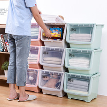 Открытой передней коробка для хранения Размеры толстые Пластик одежда отделка боковая сторона коробка для хранения одежды Sub-Просвечивающая игрушка коробка