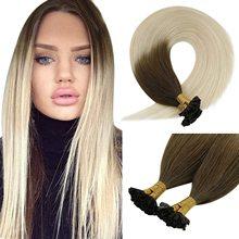 VeSunny U Tip Hair Extensions Human Hair Pre Bonded Remy Human Hair Blonde U Tip Nail Hot Fusion Hair Extensions 50g 1g/s