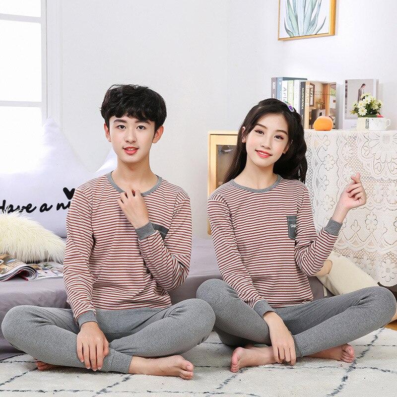 Autumn Winter Big Boys Girls Clothes Pajamas Sets Cotton Pyjamas Kids Sleepwear Homewear Teenager Long-sleeve Pijamas Suit