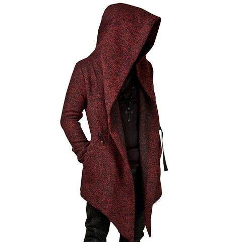 Men Coat Solid Color Hooded Tops Loose Jacket Long Sleeve Irregular Hem Pocket Autumn Winter Casual Coat Lahore