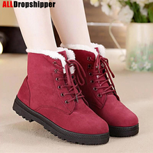 Women's Snow Boots Warm Fur Plush Insole Women Winter Boots Square Heels Flock Ankle Boots Female Lace-up Shoes Girl Martin Boot mljuese 2019 women ankle boots soft cow leather lace up winter warm fur white color female boots women martin boots size 33 43