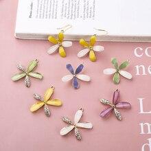 6pcs New Korean Style Flower Earrings Bracket Pendant Jewelry Accessories Fairy Flavor Crystal Fashion Sweet for Women