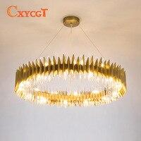 Folded Shape Crystal Chandelier Modern Style For Living Room Lighting Design in Gold Color