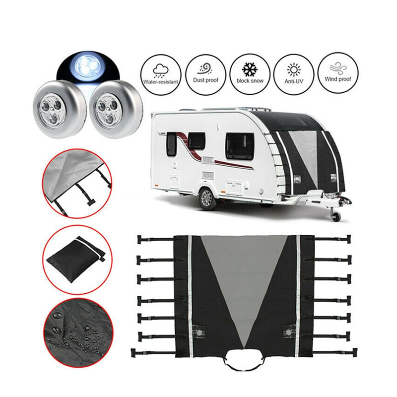 2020 Universal Caravan <font><b>RV</b></font> Front Towing Cover Waterproof Dustproof Protection Clothing with 2 LED Lights For <font><b>RV</b></font> Caravan <font><b>Motorhome</b></font> image