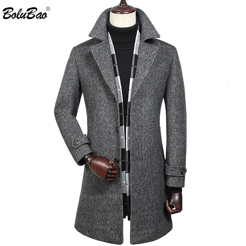 BOLUBAO Winter New Wool Blend Coats Men's Quality Brand Men Fashion Wool Coat Long Section Wool Blend Overcoat Male (With Scarf