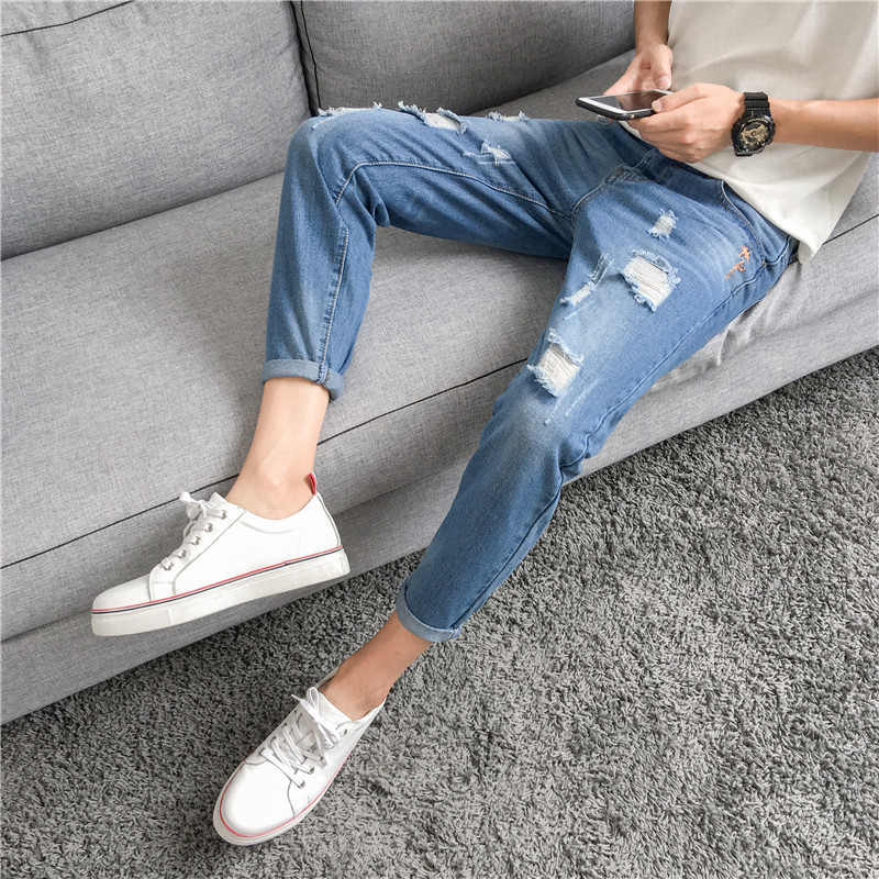 Korean-style New Style Trend Versatile With Holes Capri Beggar Cowboy Pants Spring And Autumn Popular Brand Casual Slim Fit Pant