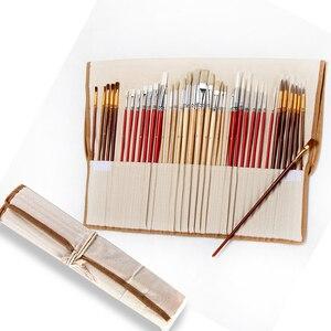 Image 2 - 38 adet/takım boya fırçaları kanvas çanta durumda uzun ahşap saplı sentetik saç sanat malzemeleri için yağ akrilik suluboya resim