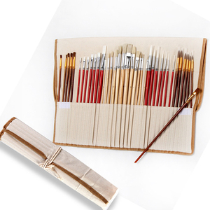 Image 2 - 38 pcs/set Paint Brushes with Canvas Bag Case Long Wooden Handle Synthetic Hair Art Supplies for Oil Acrylic Watercolor Painting