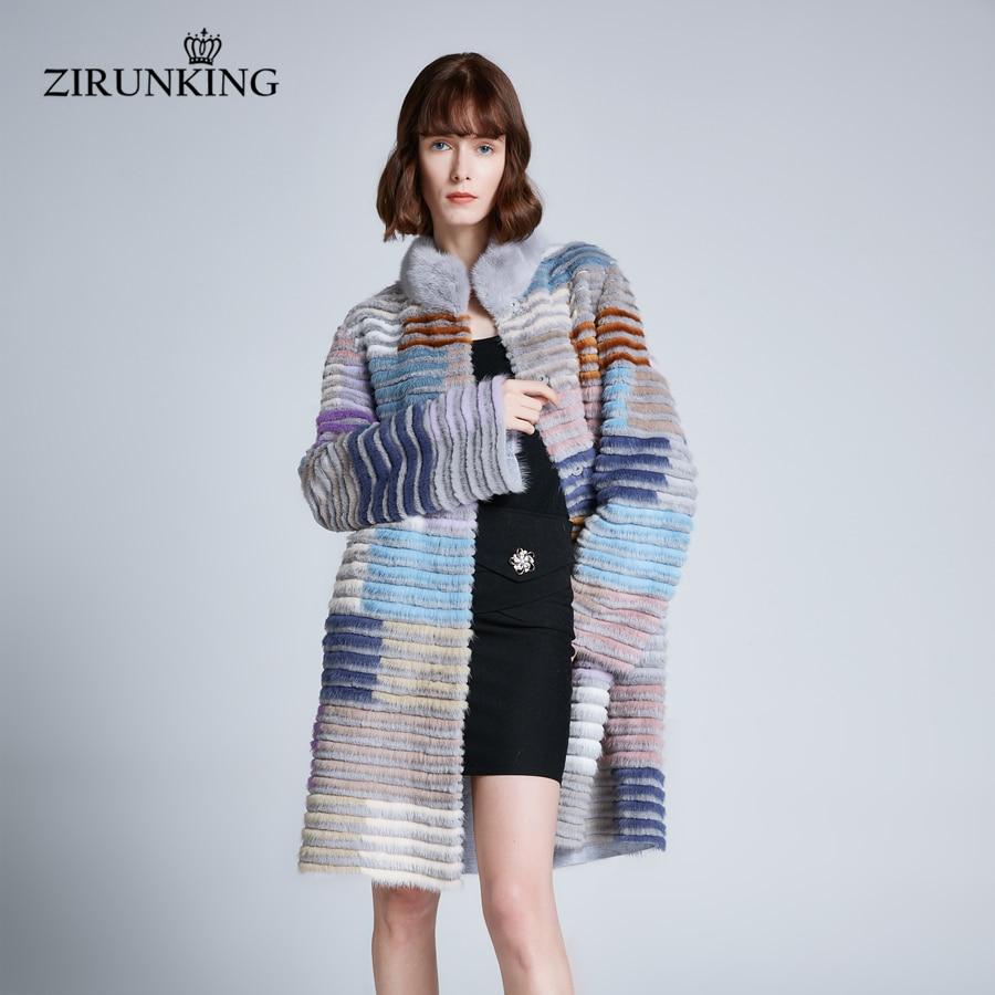 ZIRUNKING Women Real Mink Fur Coat Plus Size Lady Long Rabbit Fur Coats Female Stand Collar Fur Winter Warm Outerwear ZC1906