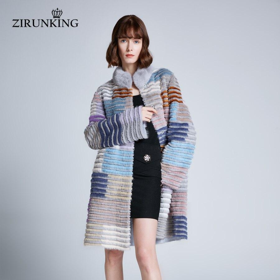 ZIRUNKING femmes réel vison manteau de fourrure grande taille dame longue fourrure de lapin manteaux femme col montant fourrure hiver chaud vêtements d'extérieur ZC1906