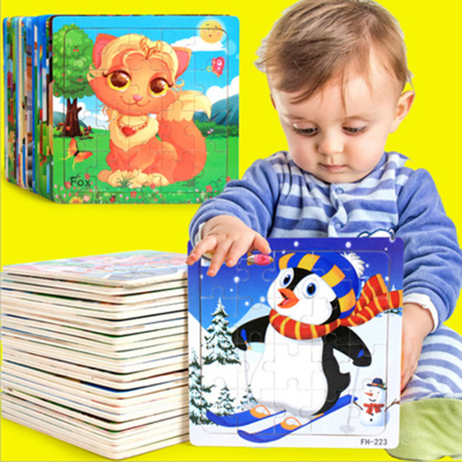 New 20 Pcs Wooden Puzzle Kids Toy Cartoon Animal 3D Wood Jigsaw Puzzles Child Early Educational Learning Boy And Girl Toys Gift