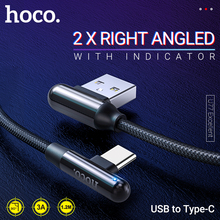 hoco type c cable right angle charging data sync elbow usb c cord gaming type c nylon wire led indicator 90 degree phone cable