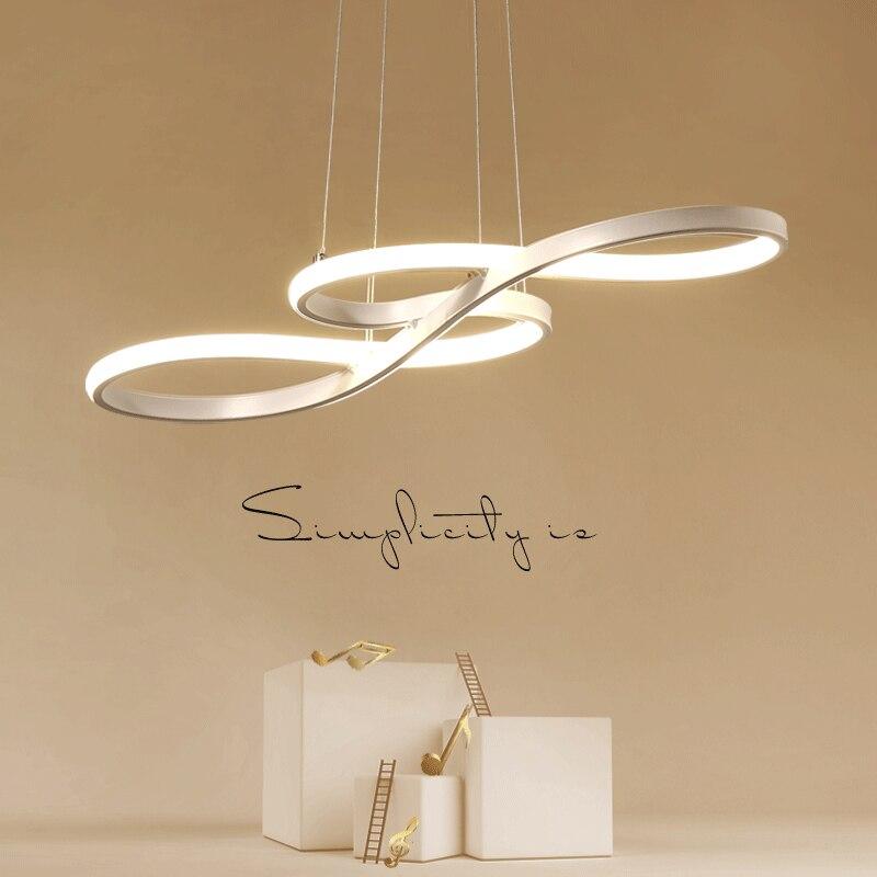 Luz colgante LED nórdica originalidad Musical nota curva colgante lámpara personalidad dormitorio cocina restaurante accesorios de iluminación