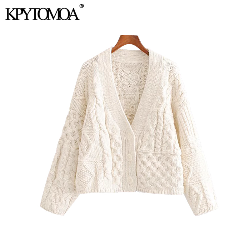 Vintage Stylish Patchwork Cable Knitted Sweater Women 2020 Fashion V Neck Long Sleeve Female Pullovers Chic Short Style Tops