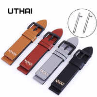 UTHAI P08 20mm Watch Strap Classic Calf Leather 22mm Watch Band With Leather Watch Strap Switch ear Watchbands Free shipping