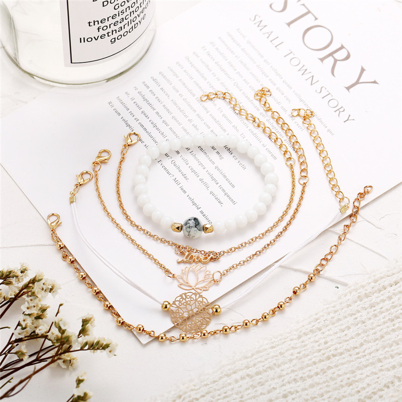 X ROYAL 5Pcs set Bohemian Style White Pine Stone Bracelets Love Lotus Pattern Charm Link Chain Bracelets Sets Luxury Women Gift in Charm Bracelets from Jewelry Accessories