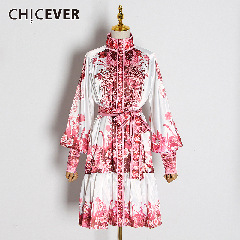 CHICEVER Vintage Print Hit Color Dresses For Female Stand Collar Lantern Long Sleeve High Waist Ruched Dress Women 2020 Tide