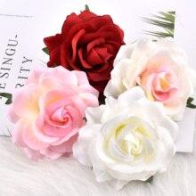 30 adet yapay ipek çiçek kafaları düğün dekorasyon için beyaz gül DIY çelenk hediye kutusu Scrapbooking Craft sahte çiçek kafa