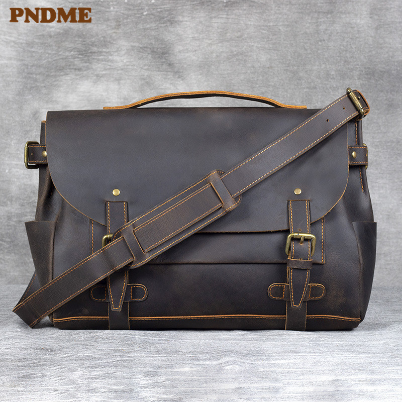PNDME Business Casual Crazy Horse Cowhide Men's Briefcase Vintage Designer High Quality Genuine Leather Work Laptop Shoulder Bag