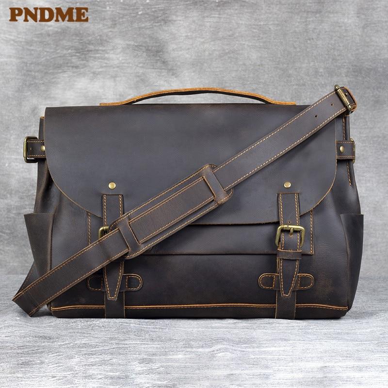 PNDME business casual crazy horse cowhide men's briefcase vintage designer high quality genuine leather work laptop shoulder bag
