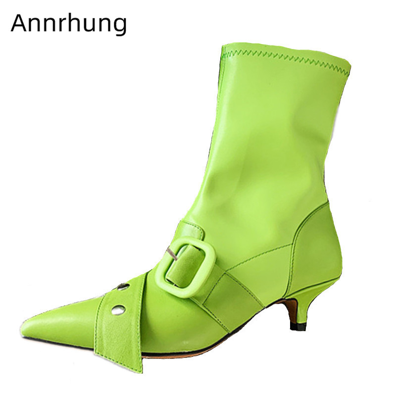 Mint Green Motorcycle Boots Women Fashion Ankle Boots Sexy Pointed Toe Stretch Slim Boots Buckle Belt Kitten Heel Short Botas