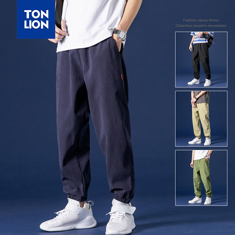 TONLION 2020 Spring New Mens Pants Fashion Elastic Waist Drawstring Cargo Pants Full Length Loose Trousers Men Pockets Decorate