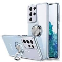 Funda de cristal S21 S 21 Ultra 5G, carcasa trasera magnética de anillo de Metal para Samsung Galaxy S21 Plus, funda de parachoques S20 S10 20, Coque a prueba de golpes