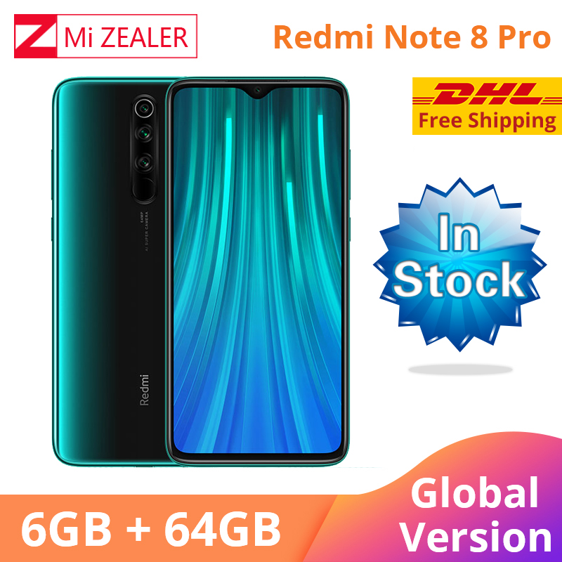 In Stock! New Global Version Xiaomi Redmi Note 8 Pro 6GB RAM 64GB ROM 4500mah Smartphone 64MP Camera MTK Helio G90T Cellphone