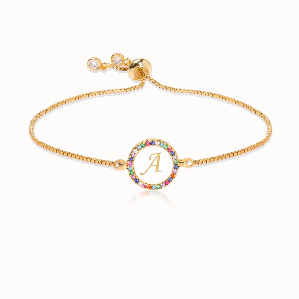 Colorful Rainbow Zircon 26 Letter Bracelet for Women adjustable initial Bracelet Femme Snake Chain Jewelry Christmas gifts