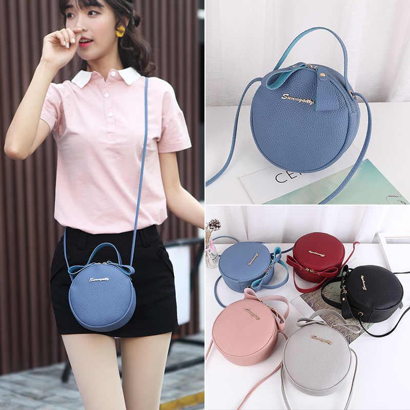 Kecil Mini Wanita Tas Tangan PU Kulit 2020 Fashion Baru Bahu Messenger Tas Kecil Segar Putaran Casing Dompet dan tas Tangan