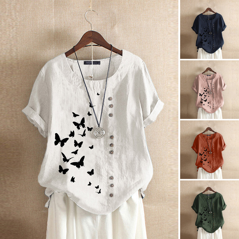 Stylish Summer Tee Shirts Women's Printed Blouse 2020 ZANZEA Vintage Button O Neck Blusa Female Short Sleeve Tunic Plus Size 5XL