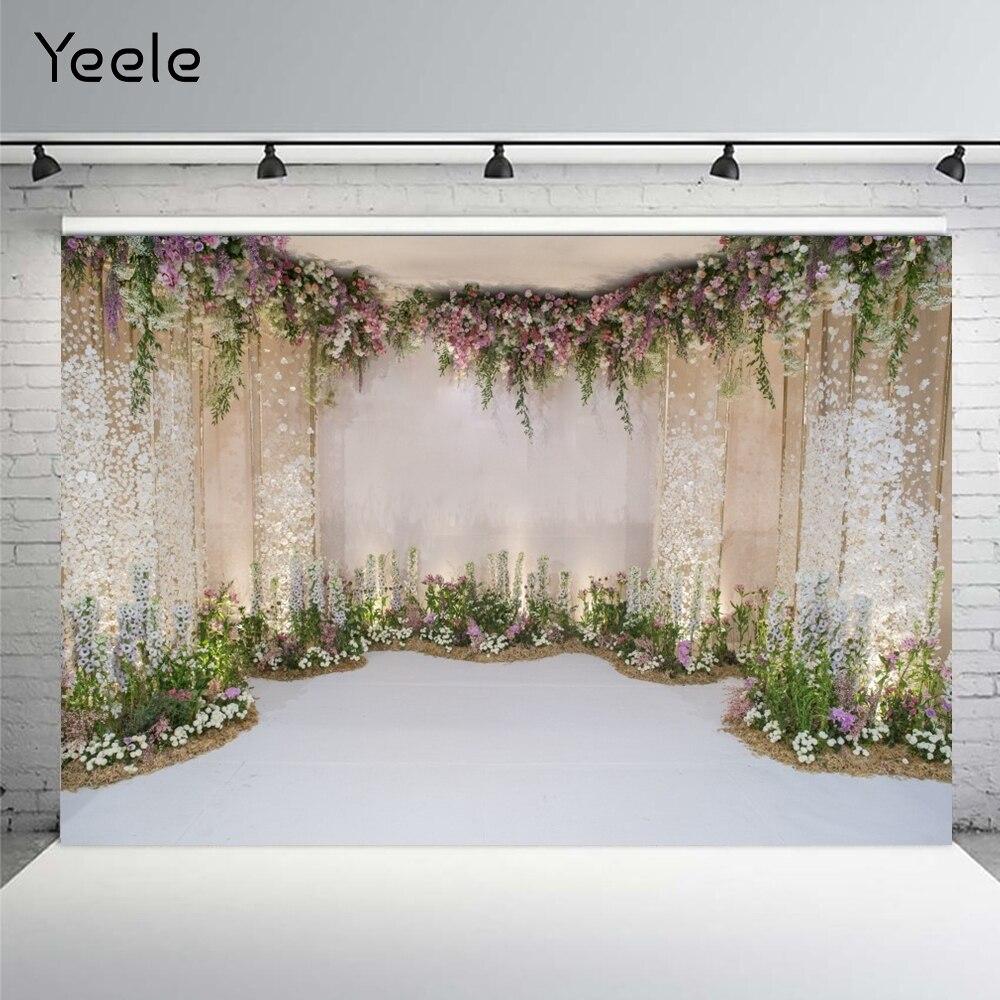 Yeele – arrière-plan de photographie personnalisé avec fleurs pour mariage, arrière-plan de photographie pour Studio Photo
