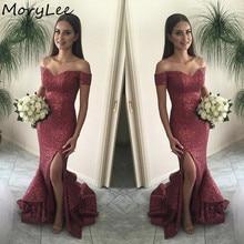 Shining Bridesmaid Dresses Off The Shouder Mermaid Floor Len