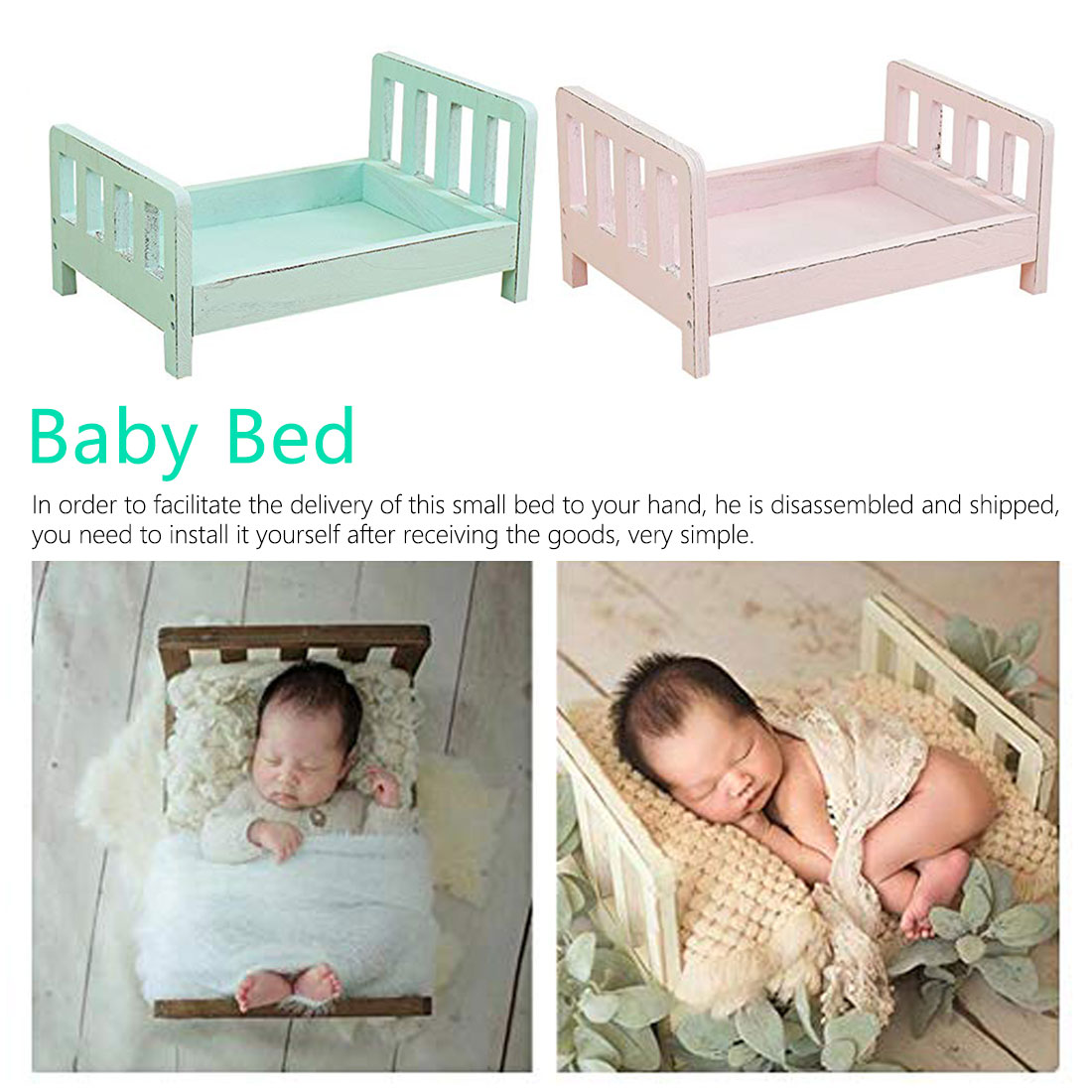 Accessories Background Sofa Studio-Props Newborn-Basket Wood Posing Photo-Shoot Baby