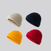 Autumn and Winter Retro Dome Warm Short Wool Baotou Melon Cap Knit Hat Cold Men Women Tide Striped Hats for